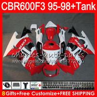 Wholesale 98 Honda - 8 Gifts 23 gloss red Colors For HONDA CBR600F3 95 96 97 98 CBR600RR FS 2HM34 CBR600 F3 600F3 CBR 600 F3 1995 1996 1997 1998 white Fairing