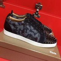 Wholesale Leather Look Tops - Good-looking Low Top Sneaker Shoes Women,Men Leopard Leather Red Bottom Shoes Outdoor Casual Lace Up Trainer Party Wedding Size 35-47