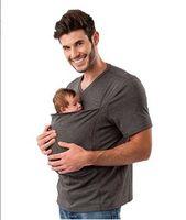 calções cangurus venda por atacado-Verão Canguru Pai Portador de Bebê Para Os Homens Multifuncional Algodão Camiseta de Manga Curta Mens Tee Top SF06-11