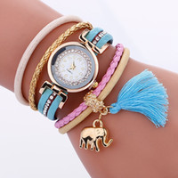 Wholesale Magnetic Tags - Fashion 2017 tassel elephant pendant women leather watch wholesale casual retro magnetic ladies dress bracelet quartz watches
