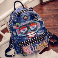 organic travel pillow - 2017 New Punk rivets embroidered badge sequins denim backpack fashion women travel leisure canvas backpack computer Bags