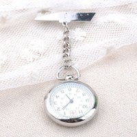 Wholesale Pocket Watch Chain Fob Silver - Wholesale-Silver Nurse Pocket & Fob Watch Women Men Watches Analog Quartz Watch Stainless Steel Chain Pendant Pocket Watch