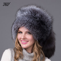 Wholesale Real Fox Tails - Wholesale- Real Fox Winter Hats For Women Winter Luxury Fur Genuine Fur Trapper fox fur tail Hat Caps Russian Style Hat Bombers HJL-03