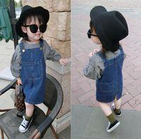 Wholesale overall denim dress - Spring Autumn Baby Girls Denim Suspender Skirt Kids Overalls Dress Children Denim Dresses Clothing 3890