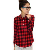 Wholesale Womens Plaid Shirt Xxl - 2015 New Fashion Womens Tops Casual Blouse Turndown Collar Long Sleeve Plaids Shirt S-XXL