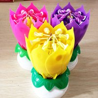 Wholesale Purple Birthday Candles - Romantic Lotus Flower Candles Round Shaped Candles Double Layer Design Carved Candles For Birthday Party Gift