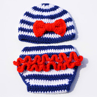 Wholesale Sailor Costume Baby - Novelty Blue White Striped Sailor Newborn Costume,Handmade Crochet Baby Girl Sailor Beanie Hat Diaper Cover Set,Infant Toddler Photo Prop
