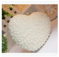Wholesale Heart Shape Clutches - Wholesale- Heart Shape Ladies Pearl Clutch Bag Fashion Bead Evening Bag Crystal Chain Handbag Bridal Wedding Party Bag Bolsa Mujer