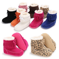 Wholesale Kids Flat Bow Shoes - Kids winter Shoes infant Bow snow Boots cotton Girls boys Fashion Leopard tassel Boots Baby First Walkers C2575