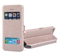 Wholesale Iphone 4s View Window Case - For iphone 7 Case Open Window Holster Cases Silk Flip Leather Pattern Stand Dual Window View Cover Case for iphone 6 6s 7 plus 5s SE 4S Hot