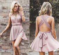 Wholesale sexy party cocktail dress resale online - 2018 Sexy V neck Criss corss Back Short Homecoming Dresses Summer Beach Chiffon Mini Formal Gowns Cocktail Party Dresses BA6865