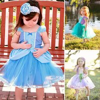 Новые девушки INS Girls Цветочные платья Baby Princess Party Blue Bubble Skirt Up Cinderella Dress Birthday Show TUTU dresses 4 Style DHL Free WX-D33