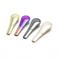 Wholesale Velvet Glasses - Wholesale metal smoking pipes stainless steel bubblers pipes for smoking dry herb vaporizer dab rigs glass bong with velvet bag