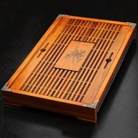 Wholesale Tea Board - Solid wood tea tray with orchid patern Drawer+drain style 43cm*28cm*6cm tea board kungfu tea set TL-051