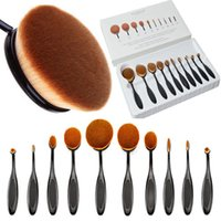 Wholesale Gold Toothbrush - 5 6 10 x Gold Professional Soft beauty Toothbrush Makeup Brush Sets Foundation Brushes Cream Contour Powder Blush Lip Concealer Oval Brushes