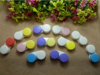 Wholesale Contact Lens Case color contact transparent with colors contact lens cases left and right different color