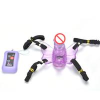 Wholesale Strap Vibrators - Wireless Remote Control Butterfly Vibrator Strap On Panties Vibrating Dildo G Spot & Clitoral Vibrators Sex Toys For Woman