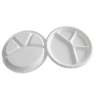 Wholesale Bbq Salads - 28Cm Diameter 4 Parts Disposable Plate Ecofriendly Degradable Dish BBQ Food Trays Fruit Salad Bowl Tableware Disposable Dishes White Trays