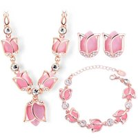 Wholesale European Jewelry Sets - European and American fashion 3p Rose gold-plated morning glory Big Opal Crystal Jewelry Set for women wedding Charm Accessories