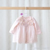 Wholesale Boat Stereos - new arrival Girl dress kids lolitastyle 100% cotton Long sleeve little stereo flowers kids girl princess dress 2 colors
