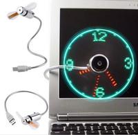 led hayranları toptan satış-LED Zaman Ile yaratıcı Ayarlanabilir Mini USB Hayranları LED Saat Fan Perakende Kutusu Ile LED Işık Ekran Serin Gadget