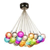 renkli kolye lambaları toptan satış-Renkli Cam Top Lamba G4 LED Kolye Işıkları 110 V / 220 V için Yaratıcı Tasarım Aydınlatma Armatürleri Ev Deco Bar Kahve Oturma Odası
