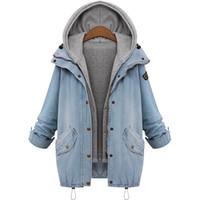 Wholesale Drawstring Denim Jacket - 2016 Blue Hooded Drawstring Boyfriend Trends Jean Swish Pockets Two Piece Outerwear Women Denim Buttons Coat Jackets AWC0003