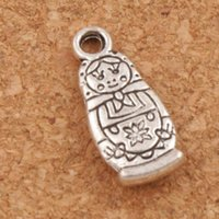 Wholesale Russian Silver Jewelry - Russian Dolls Charms Pendants Jewelry DIY 200pcs lot Antique Silver 17.4x7.6mm L1142 Hot sell Findings Components