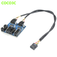 Wholesale Pin Header Male Female - Wholesale- 9pin USB header Male 1 to 2   4 Female Extension Cable Card Desktop 9-Pin USB HUB USB 2.0 9 pin Connector Adapter Port Multilier