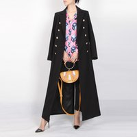 Wholesale British Navy Coat - The Classic British Navy Winter 2017 Lapel Long Sleeved Double Breasted Black Female Long Coat After Slits Overcoat