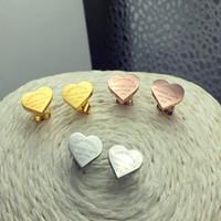 Wholesale gold heart shaped stud earrings - Lovely Earrings 316L Stainless Steel Heart Shape Fashion Stud Earrings For Girl Present Never Fade fashion jewelry