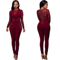 Wholesale Womens Fashion One Piece - Women Sexy Long Sleeve Lace Patchwork Bodycon Rompers Womens Jumpsuits Bandage Full Length One Piece Pants Jumpsuit For Ladies