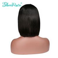 dantel peruklar african american women toptan satış-Sloveny Rosa İnsan Saç Peruk Bob Brezilyalı Remy Saç Dantel Ön İnsan Saç Peruk Siyah Kadınlar Için African American Kısa Peruk