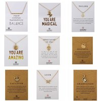 Wholesale Cards Life - 2017 New Dogeared Necklace With Card LOVE WISH LUCK Family CAT LIFE Pendant Noble and Delicate Silver Choker Valentine Day Christmas Gift