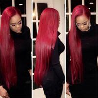 soie rouge foncé achat en gros de-28 pouces Sombre Rouge Perruque de Cheveux Humains Soie Droite Malaisienne Remy Cheveux Avant de Lacet Perruques Sans Colle Livraison Gratuite