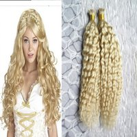 Wholesale Nail Tip Curly Hair Extensions - 613 Bleach blonde Pre Bonded Human Hair I Nail Tip kinky curly Keratin Human Hair On Capsule Real Hair Extensions 100 pieces