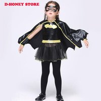 Wholesale Disguise Halloween - 2017 Girls batman Halloween costumes Batgirl fancy dress Kids disguise carnival party Outfit superhero cosplay free shipping