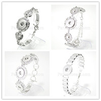 Wholesale Steel Jewelry Diy - DIY Noosa Chunks Crystal Bracelets Silver Plated Interchangeable 20mm Snap Buttons Stainless Steel Jewelry Women Fashion Bracelet KB0546