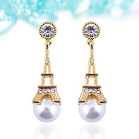 Wholesale Eiffel Earrings - Japanese and South Korea 2016 new Eiffel Tower inlaid pearl studs earrings real gold plated allergy free earrings women fashion jewelry