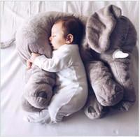 ingrosso gioca bambole di cuscino-Vendita al dettaglio cuscino elefante baby doll bambini cuscini di sonno regalo di compleanno bambino cuscino naso lungo bambola elefante morbido peluche giocattoli 40 cm * 40 cm * 35 cm