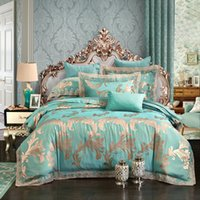 Wholesale White Lace King Sheet Set - England fashion Green camel modal silk duvet cover set flat cotton bed sheet lace pillowcases bed linens queen king size silk bedding 5823.