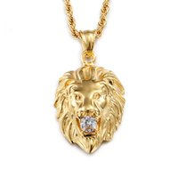 Wholesale Gold Inlay Jewelry - Stylish Men 316L Titanium Steel Lion Head Pendant Inlaid With Diamond Cool Hip-Hop Gold Lion Necklace Pendant For Men Club Jewelry