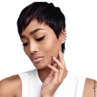 Wholesale Synthetic Female Chinese - Short Synthetic Wigs for Black Women Short Straight Pixie Cut Wig human hair Wigs Female Natural Hair