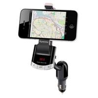 держатель для телефона оптовых-Bluetooth FM-передатчик автомобильный комплект телефон держатель кронштейн мобильного телефона для iPhone Samsung стенд с громкой связи вызова автомобильное зарядное устройство