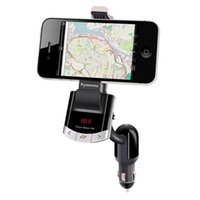 Wholesale Transmitter Stand - Bluetooth FM Transmitter Car Kit Phone Mount Holder Bracket Cellphone for iphone Samsung Stand With Handsfree Call Car charger
