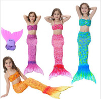 Wholesale Little Girls Mermaid Costumes - dongguan in stock 2018 Kids Girls Mermaid Tail Suit With Monofin Little Mermaid Tails Children Swimmable Swimsuit With Bikini Fancy Dress