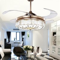 Wholesale Electric Retractable - Invisible Ceiling Fans Lights Bedroom Remote Control Lamp Modern Retractable Belt LED Mute Electric Fan Chandelier Folding pendant lamp