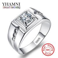 Wholesale solid silver rings men - YHAMNI Classic Men Ring Set 6MM 1 Carat CZ Diamond Engagement Ring 925 Solid Silver Wedding Ring for Men Jewelry Wholesale RJ29N