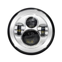 """Wholesale projector low beam - 1Psc Chrome 7"""" LED Headlight With H4 High Low Beam For Harley Davidson Motorcycle Projector Daymaker LED Headlamp"""