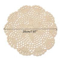 vintage crochet doilies großhandel-Großhandels-12Pcs runde Weinlese-Baumwollmatte-Hand gehäkelte Spitze-Deckchen-Blumen-Untersetzer-Los-Haushalts-Tabellen-dekorative Handwerks-Zusätze